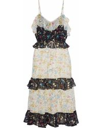 Love Sam - Tiered Floral-print Voile Midi Dress - Lyst