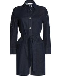 See By Chloé - Broderie Anglaise-trimmed Denim Playsuit - Lyst