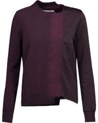 Maison Margiela - Asymmetric Cashmere And Flocked Satin Sweater - Lyst