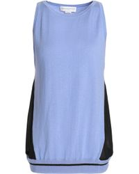 Amanda Wakeley - Voile-paneled Silk, Wool And Cashmere-blend Top Light Blue - Lyst
