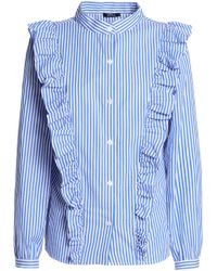 Raoul - Ruffled Striped Cotton-poplin Shirt - Lyst