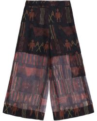 Stella Jean - Printed Silk-organza Wide-leg Pants - Lyst