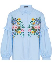 Raoul - Ruffle-trimmed Embroidered Cotton-poplin Blouse - Lyst