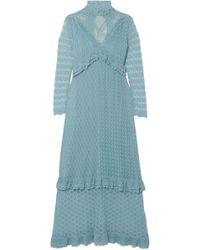 ALEXACHUNG - Woman Ruffle-trimmed Pointelle-knit Turtleneck Midi Dress Sky Blue - Lyst