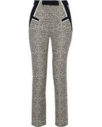 Roland Mouret - Logan Cropped Crepe-trimmed Tweed Skinny Trousers - Lyst