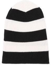 Autumn Cashmere - Woman Striped Ribbed Cashmere Beanie White - Lyst cac600c0bce
