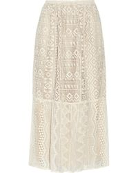 Anna Sui - Silk Georgette-paneled Lace Skirt - Lyst