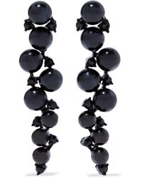 Kenneth Jay Lane - Bead, Crystal And Gunmetal-tone Earrings - Lyst