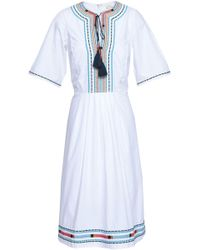 Talitha - Woman Pleated Embroidered Cotton-poplin Dress White - Lyst