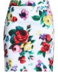 Love Moschino - Woman Printed Stretch-cotton Mini Skirt White - Lyst