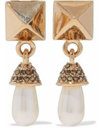 Valentino - Rockstud Gold-tone, Faux Pearl And Crystal Clip Earrings - Lyst