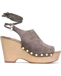 Diane von Furstenberg - Studded Suede Platform Wedge Sandals - Lyst