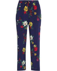 Joie - Floral-print Silk Crepe De Chine Straight-leg Trousers - Lyst