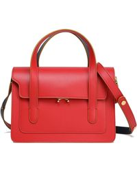 Marni - Trunk Medium Leather Shoulder Bag Red - Lyst