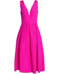 Lela Rose - Pleated Flocked Silk-faille Midi Dress - Lyst