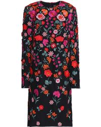 Lela Rose - Embroidered Tulle Dress - Lyst