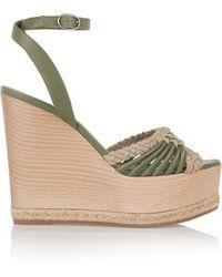 Donna Karan - - Tiberias Leather Wedge Sandals - Army Green - Lyst
