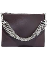 Alexander Wang - Chain-embellished Leather Shoulder Bag Dark Brown - Lyst