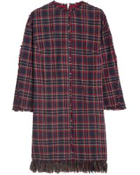 SJYP - Fringed Plaid Brushed-cotton Dress - Lyst