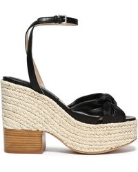 Michael Kors - Woman Knotted Leather Espadrille Wedge Sandals Black - Lyst