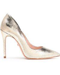 b106e3e5f2b37 Schutz - Woman Metallic Cracked Leather Court Shoes Gold - Lyst