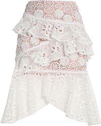 Alexis - Nahara Asymmetric Ruffled Macramé Lace Skirt - Lyst