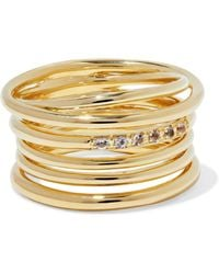 Elizabeth and James - Gold-tone Crystal Ring - Lyst