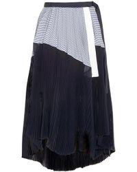 Sacai - Striped Poplin-paneled Pleated Chiffon Midi Wrap Skirt - Lyst