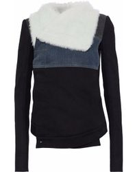 DRKSHDW by Rick Owens - Shearling, Leather And Denim-paneled Cotton-twill Jacket - Lyst