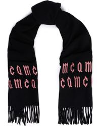 McQ - Woman Embroidered Wool Scarf Black - Lyst