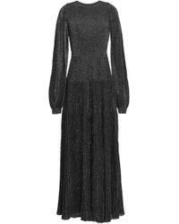 Vionnet Metallic Ribbed Stretch-knit Maxi Dress Black