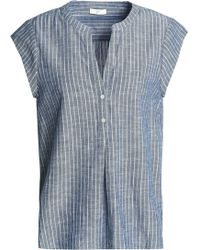 Joie - Striped Cotton-chambray Top Storm Blue - Lyst