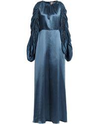 ROKSANDA - Zariah Ruched Silk Satin-twill Gown Storm Blue - Lyst