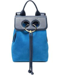 JW Anderson - Woman Pierce Leather And Suede Backpack Cobalt Blue Size -- - Lyst