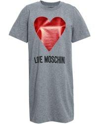 b6f6654fe5f Love Moschino - Woman Mélange Printed Stretch-cotton Jersey Mini Dress Gray  - Lyst