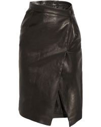 Vetements - Wrap-effect Leather Pencil Skirt - Lyst