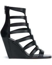 Rick Owens - Cutout Leather Wedge Sandals - Lyst