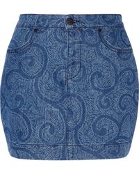 Sibling | Printed Denim Mini Skirt | Lyst