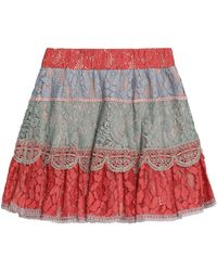 Alexis - Zowie Color-block Corded Lace Mini Skirt - Lyst
