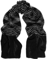 M Missoni - Two-tone Lattice-trimmed Crochet-knit Wool Scarf - Lyst