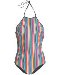 Diane von Furstenberg - Striped Halterneck Swimsuit - Lyst