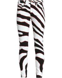 9fc828eeaccaf Roberto Cavalli - Woman Zebra-print Mid-rise Skinny Jeans White - Lyst
