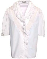 Sandro Broderie Anglaise-trimmed Cotton-poplin Shirt White