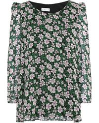 Claudie Pierlot - Bow-detailed Floral-print Crepe Blouse Forest Green - Lyst