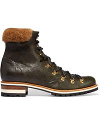 Rupert Sanderson - Hamilton Shearling-trimmed Leather Boots - Lyst