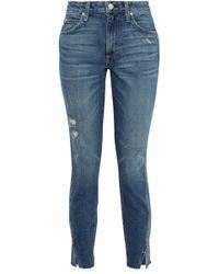 AMO - Twist Cropped Distressed High-rise Slim-leg Jeans - Lyst