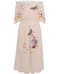 Temperley London - Woman Leo Off-the Shoulder Embroidered Lace Midi Dress Beige - Lyst