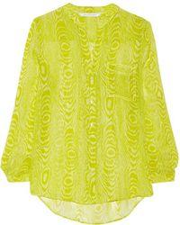 Diane von Furstenberg - - Gilmore Silk-chiffon Shirt - Chartreuse - Lyst