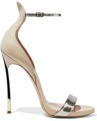 Casadei - Techno Blade Matte And Metallic Leather Sandals - Lyst