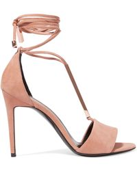 Pierre Hardy - Blondie Metallic Striped Leather Sandals Neutral Size 36.5 - Lyst